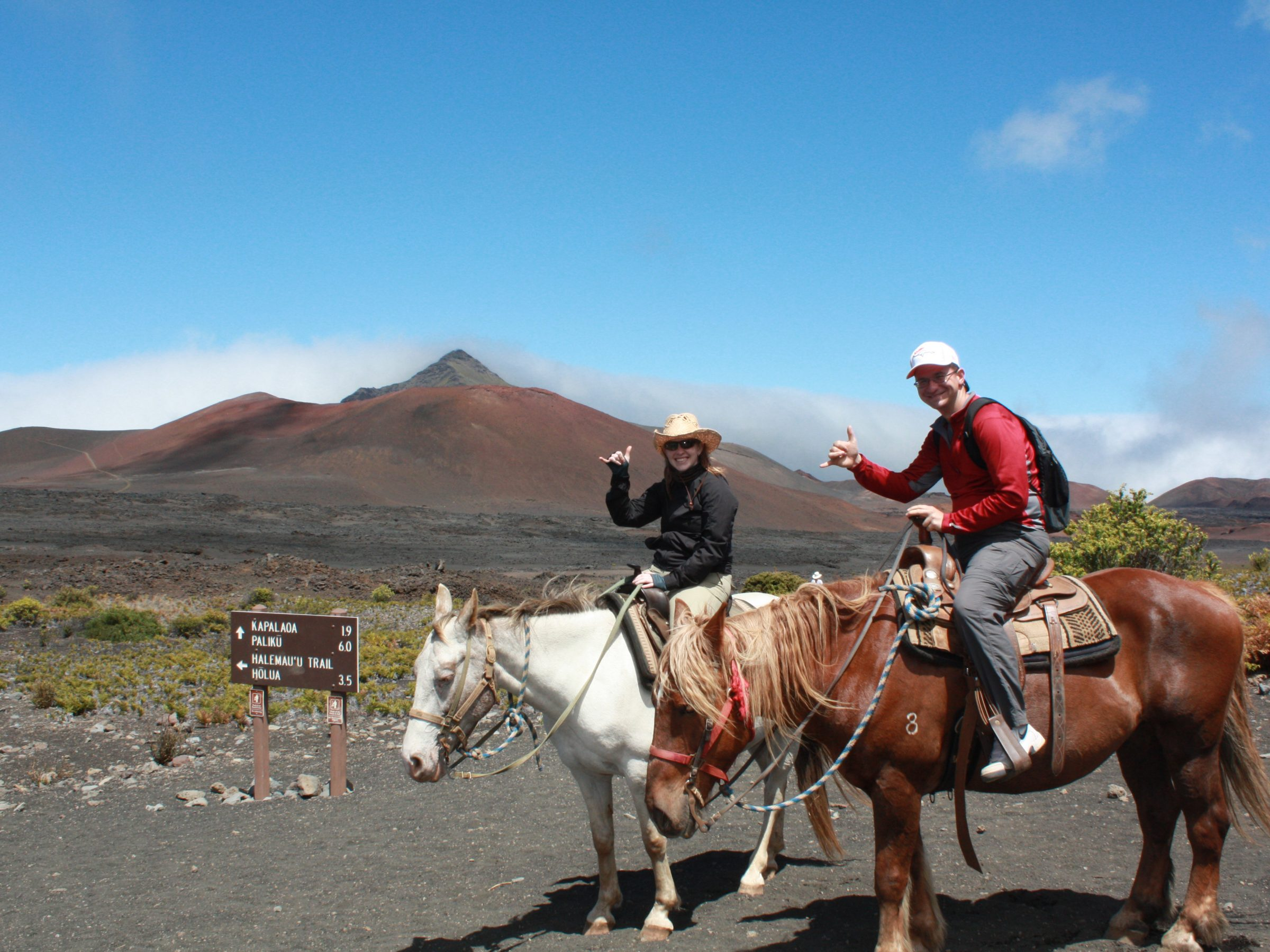 On horses at the bottom of Haleakala's crater.
